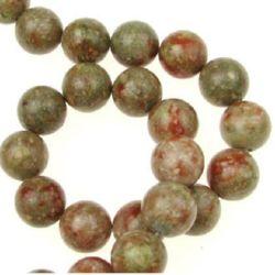 Наниз мъниста полускъпоценен камък УНАКИТ НАТУРАЛЕН топче 12 мм ~34 броя