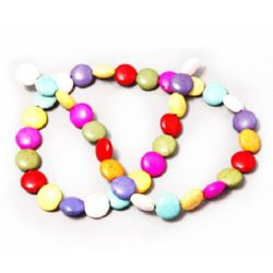 Gemstone Beads Strand,Synthetic Howlite, Flat Round,10x5mm, ~65 pcs