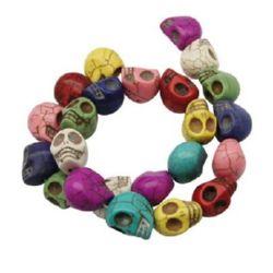 Gemstone Beads Strand,Synthetic Howlite, Skull, 17x18mm, ~23 pcs