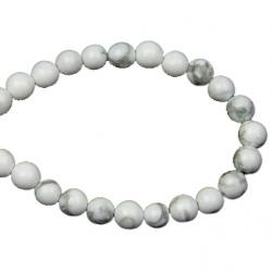 Gemstone Beads Strand, Howlite, Round, White, 4mm, ~100 pcs