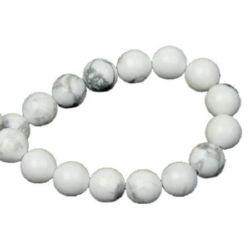 Gemstone Beads Strand, Howlite, Round, White, 6mm, ~62 pcs