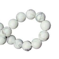 Наниз мъниста полускъпоценен камък наниз мъниста полускъпоценен камък ХАУЛИТ бял топче 8 мм ~49 броя