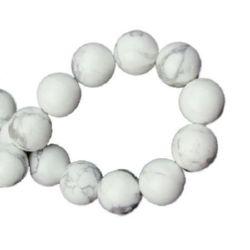 Наниз мъниста полускъпоценен камък ХАУЛИТ бял топче 10 мм ~40 броя