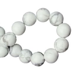 Mărgele cu șnur din piatră semiprețioasă minge HOWLIT ALB 12 mm ~ 32 bucăți