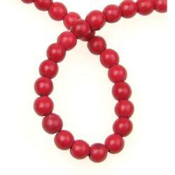 Șir de  mărgele piatră semiprețioasă minge HWOLIT roșie 6mm ~ 67 bucăți