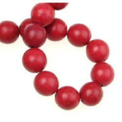 Gemstone Beads Strand, Howlite, Round, Red, 12mm, ~33 pcs