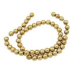 Gemstone Beads Strand, Magnetic Synthetic Hematite, Golden color, Round, 8mm, 53 pcs