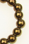 Gemstone Beads Strand, Magnetic Synthetic Hematite, Golden color, Round, 6mm, 69 pcs