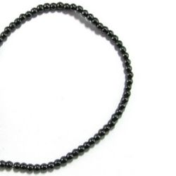 Gemstone Beads Strand, Non-magnetic Synthetic Hematite, Round, 4mm, 102 pcs