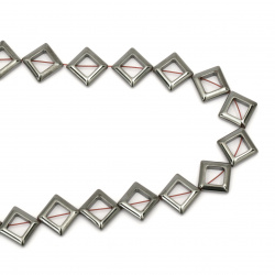 Gemstone Beads Strand, Non-magnetic Synthetic Hematite, Square, 14x14mm, 23 pcs