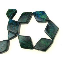 Margele de piatră semiprețioasă diamant natural CHRIZOCOLA 22x36x7 ~ 10 mm ~ 13 bucăți