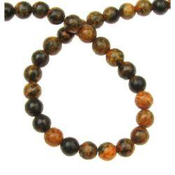 Șir Perle de piatră semiprețioasă CHRIZOCOLA  bila portocaliu 6mm ~ 65 bucăți