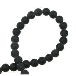 ОНИКС черен топче матирано 4 мм наниз мъниста полускъпоценен камък ±100 броя