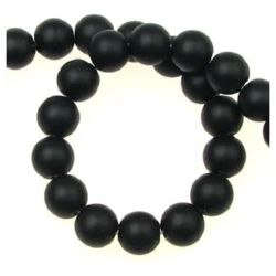 Black Onyx Round Beads Strand, Matte  8mm ~ 50 Pieces