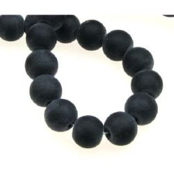 Black Onyx Round Beads Strand, Frosted 10mm ~ 39 pieces