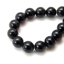 Наниз мъниста полускъпоценен камък ЧЕРЕН КАМЪК топче 16 мм дупка 1 мм ~13 броя