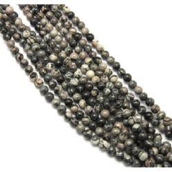 Наниз мъниста полускъпоценен камък ЯСПИС МРЕЖЕСТ НАТУРАЛЕН 6 мм ~70 броя