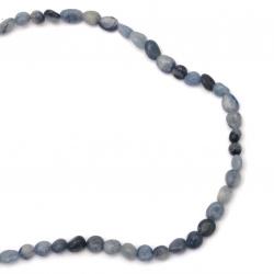 Наниз мъниста полускъпоценен камък АВАНТЮРИН натурален син 5~10x5~8 мм ~53 броя