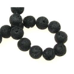 Наниз мъниста полускъпоценен камък ВУЛКАНИЧЕН - ЛАВА черен топче 8 мм ±50 броя