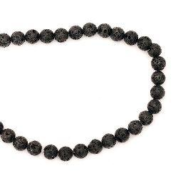 Volcanic lava rock, natural semi-precious stone  string beads, black ball shape 10 mm ~ 39 pieces