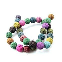 Наниз мъниста полускъпоценен камък ВУЛКАНИЧЕН - ЛАВА многоцветен топче 8 мм ±49 броя цвят МИКС