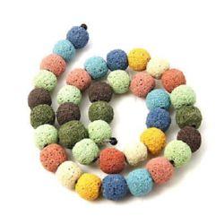 String beads semi-precious stone Volcanic lava rock, multicolor ball form 12 mm ~ 33 pieces