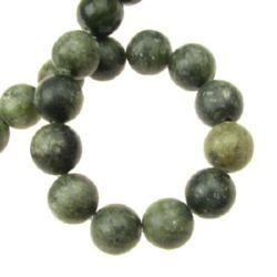 Șireturi mărgele piatră semi-prețioasă minge JASP verde 12mm ~ 33 bucăți