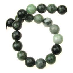 Наниз мъниста полускъпоценен камък ЯСПИС зелен топче 12 мм ~33 броя