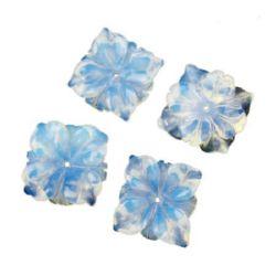 Мънисто полускъпоценен камък ЛУНЕН КАМЪК ( ОПАЛ ) цвете 22x22x5 мм