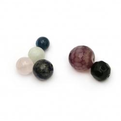 Χάντρες από διάφορες ημιπολύτιμες πέτρες 4 ~ 16 mm τρύπα 0,5 ~ 2 mm -20 γραμμάρια