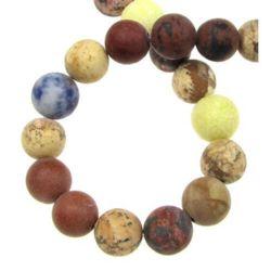 Наниз мъниста полускъпоценен камък АСОРТЕ камъни топче матирано 10 мм ~38 броя