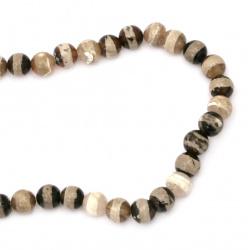 Наниз мъниста полускъпоценен камък АХАТ черно-бял топче 10 мм ~39 броя