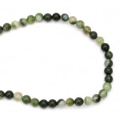 Șir de mărgele din piatră semiprețioasă AGAT  bilă verde dungată 8 mm ~ 48 bucăți