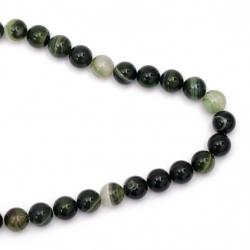Наниз мъниста полускъпоценен камък АХАТ ивичест зелен топче 12 мм ~32 броя
