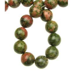 NATURAL UNAKITE Round Gemstone Beads Strand 14mm ~ 28 pcs