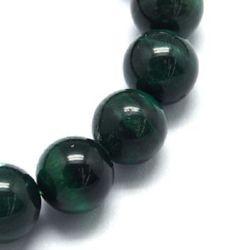 Наниз мъниста полускъпоценен камък ТИГРОВО ОКО зелено клас ААА топче 10 мм ~38 броя