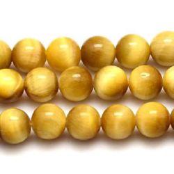 Наниз мъниста полускъпоценен камък ТИГРОВО ОКО жълт клас А топче 6 мм ~65 броя