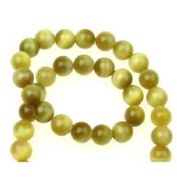 "Grade ""A"" TIGER'S EYE Round Beads Strand Yellow 8 mm ~ 50 pcs"