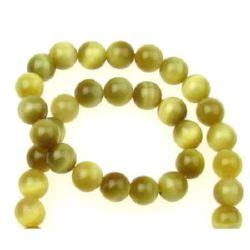 "Grade ""A"" TIGER'S EYE Round Beads Strand Yellow 10 mm ~ 40 pcs"