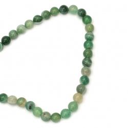 Наниз мъниста полускъпоценен камък АХАТ ивичест зелен топче 10 мм ±38 броя