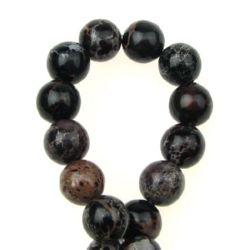 Наниз мъниста полускъпоценен камък РЕГАЛИТ кафяв тъмно топче 10 мм ~40 броя