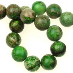 Gemstone Beads Strand, Regalite, Round, Dyed, Green, 10mm, ~40 pcs