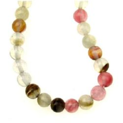 Tourmaline natural gemstone beads strand, ball shaped clear crystal, assorted colors 6 mm ~ 65 pieces