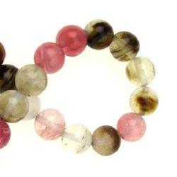 Natural semi-precious stone Tourmaline Quartz, smooth, round beads string assorted colors 8 mm ~ 48 pieces