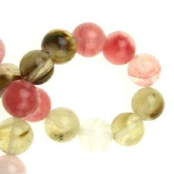 Tourmaline Quartz assorted ball shaped 10 mm String beads semi-precious stone ~ 38 pieces