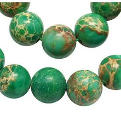 Gemstone Beads Strand, Regalite, Round, Dyed, Green, 8mm, ~50 pcs