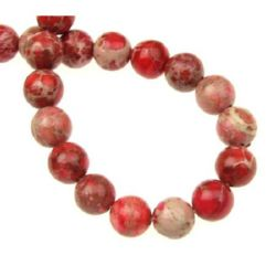 Наниз мъниста полускъпоценен камък РЕГАЛИТ червен топче 10 мм ~40 броя