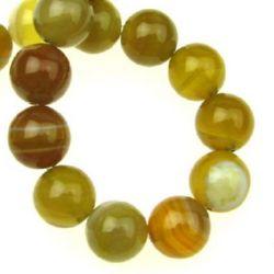 Sir margele piatră semiprețioasă AGAT bilă galbenă dungată 8 mm ~ 48 bucăți
