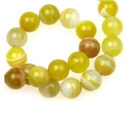 Sir margele piatră semiprețioasă AGAT dungi galben maron galben 10 mm ~ 39 bucăți