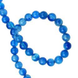 Sir margele piatră semiprețioasă AGAT bilă albastru alb 6 mm ~ 65 bucăți